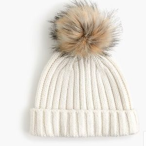 J Crew: Ribbed beanie with faux-fur pom-pom